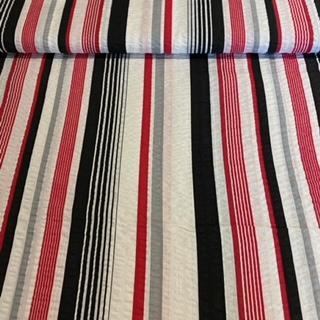 bavlna krep čer.červen.bílé pruhy