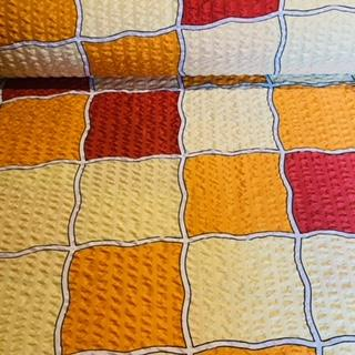 bavlna krep bord.žlut.oran.kostky š.150