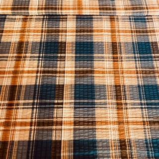 bavlna krep modr.hnědá kostka š.140