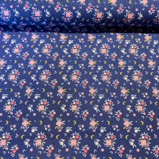 bavlna modro růžové kytičky 140 cm