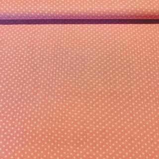 bavlna bílý puntík na starorůžovém podkladě 140 cm