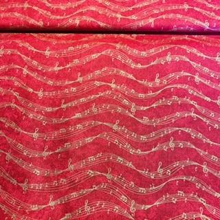 bavlna červená zlaté noty