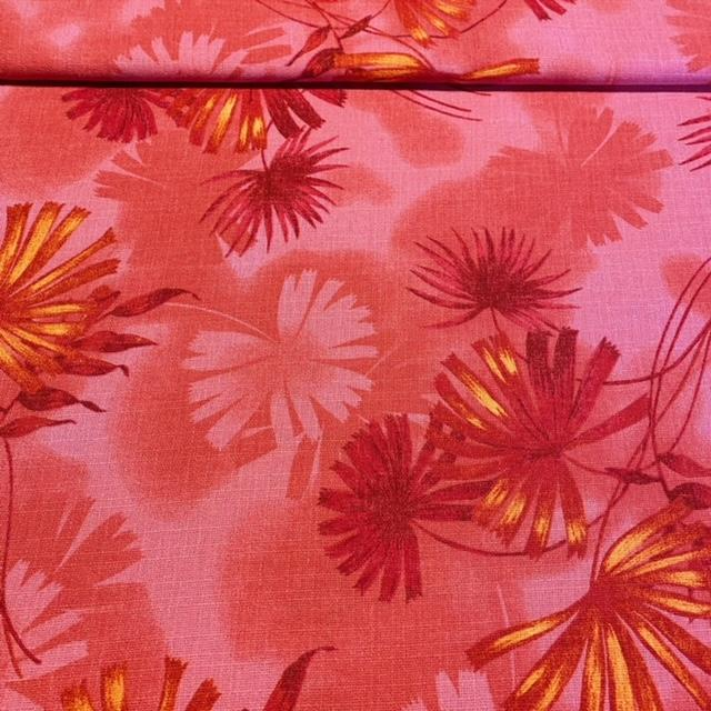dekoračka růžová červeno-oranž květ hrubá š.160