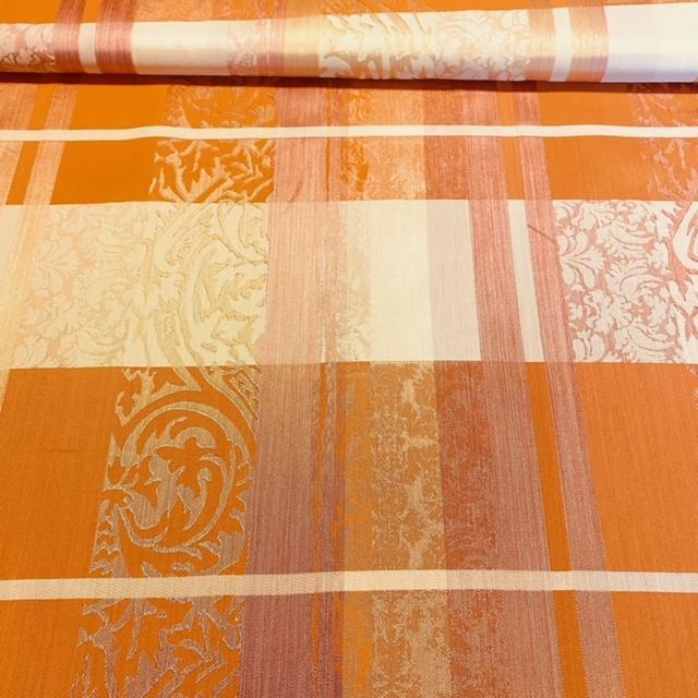 dekoračka oranžová, kostka, pruhy, zám. vzor š140 PES