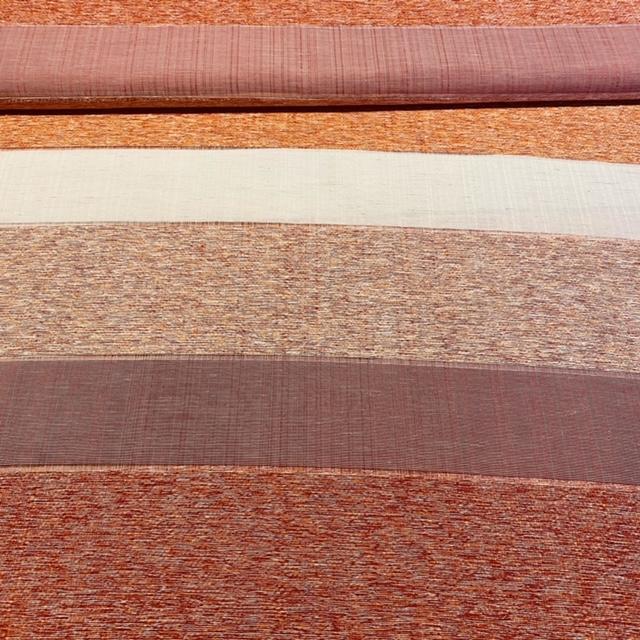 dekoračka červeno/oranžovo-bílé pruhy š.140 PES