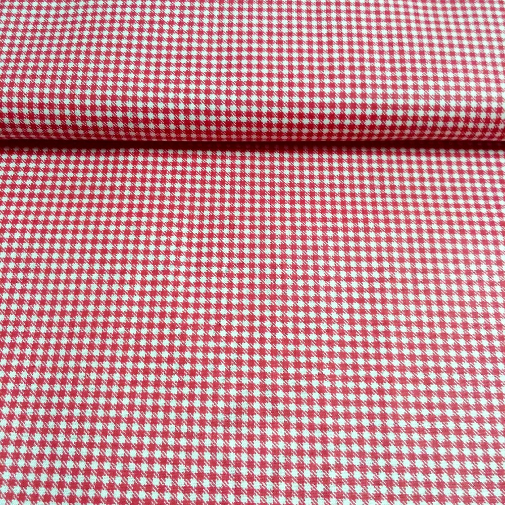 bavlna červené káro tisk