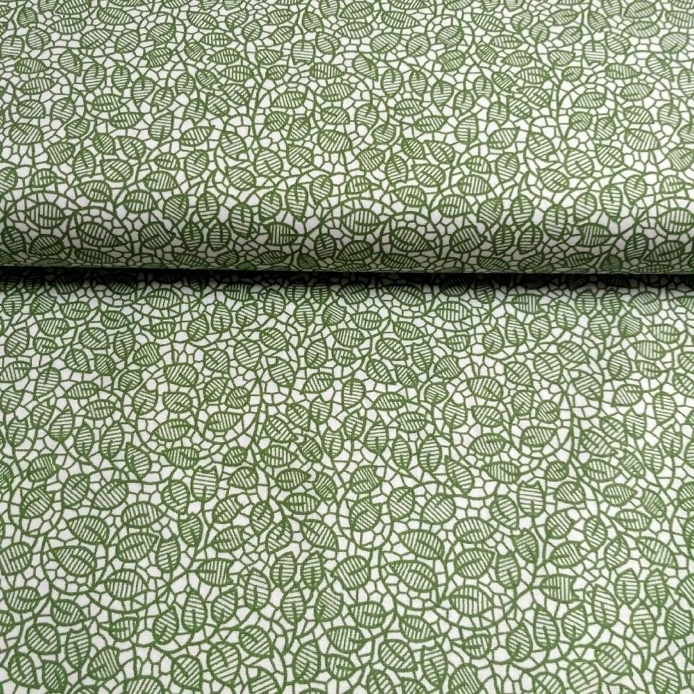 bavlna zelené lístky na bílém podkladě