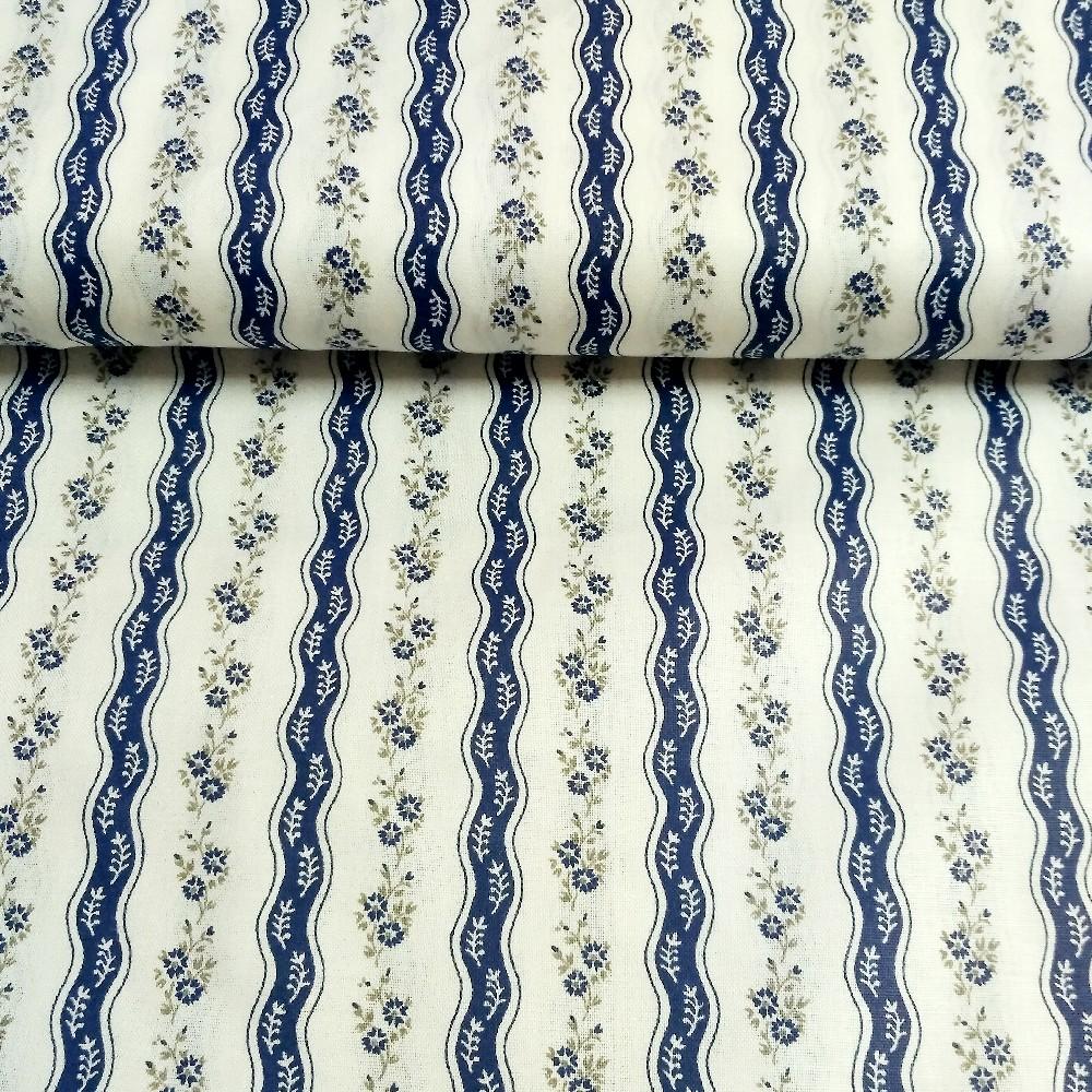 bavlna modré kytičky vlnky bílý podklad