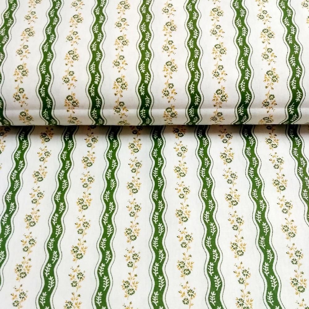 bavlna zelené kytičky vlnky bílý podklad