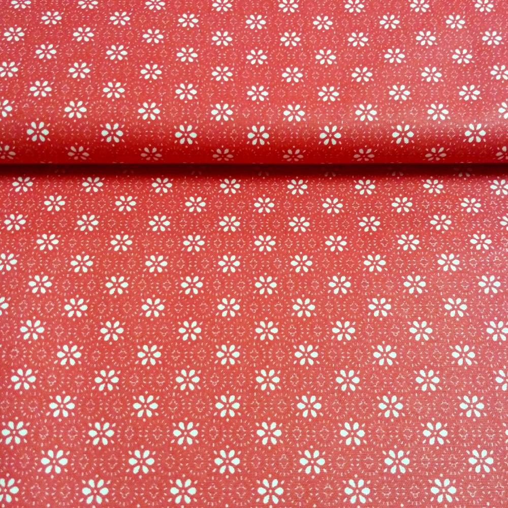 bavlna bílé kytky na červeném podkladu