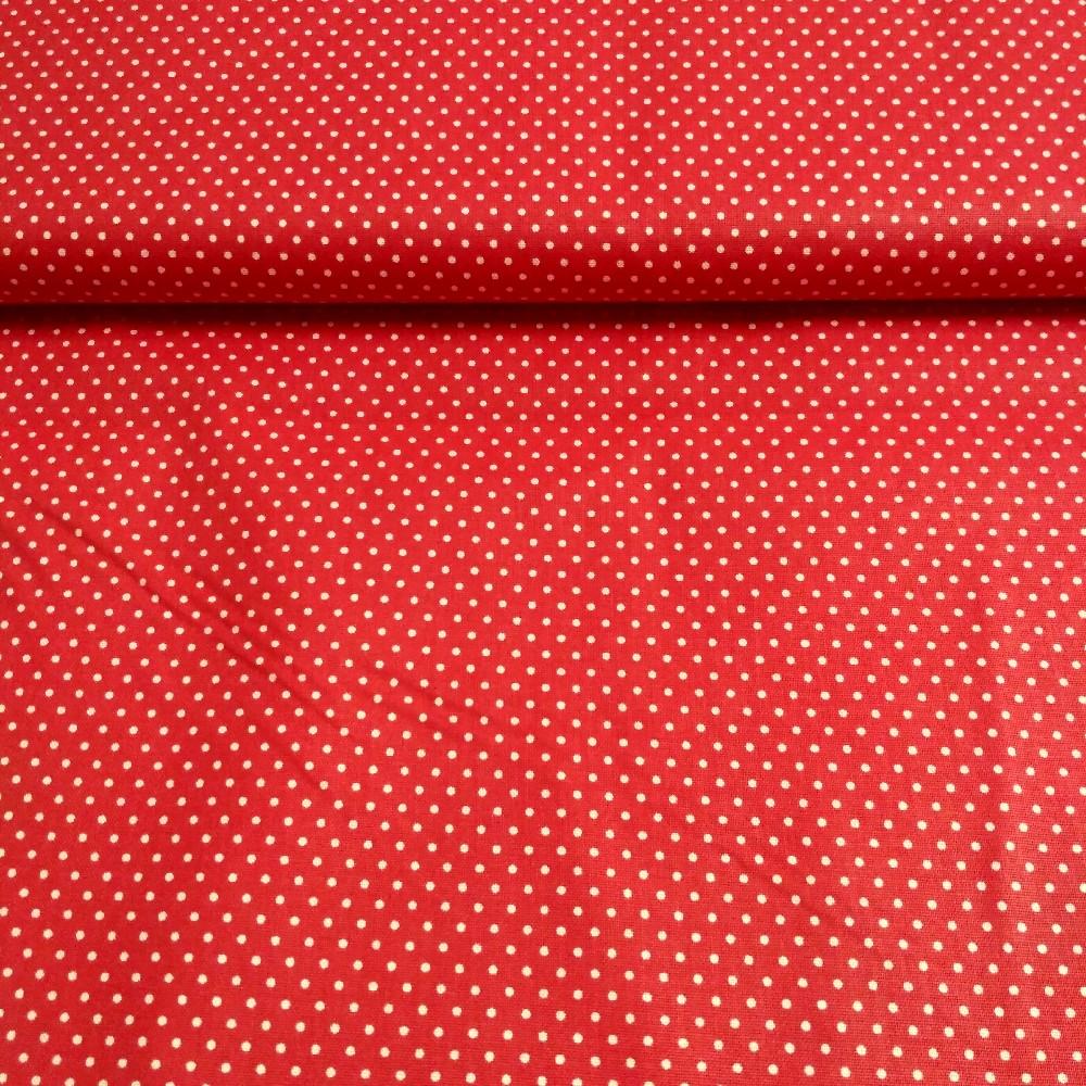 bavlna červená bílý puntík