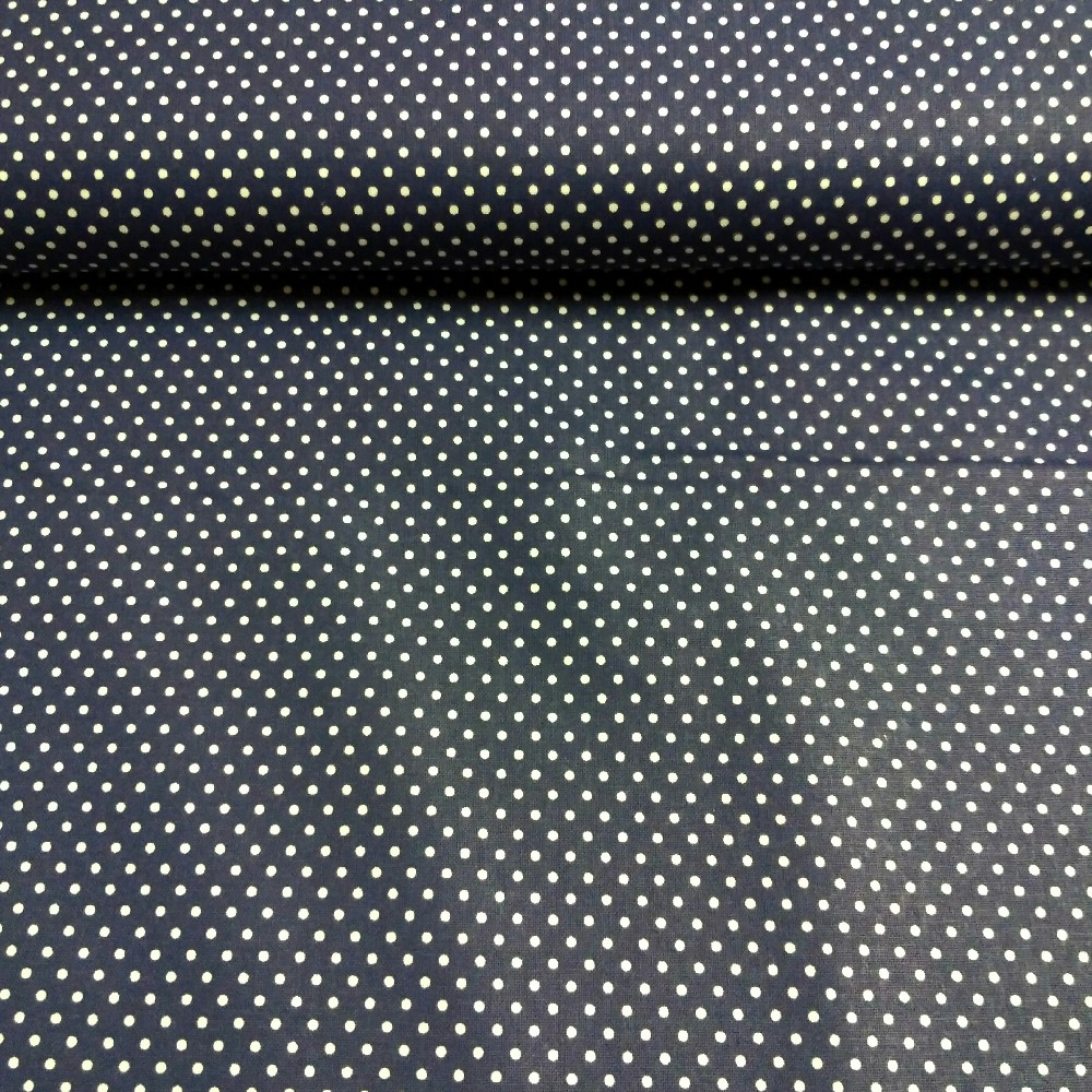 bavlna modrá bílý puntík