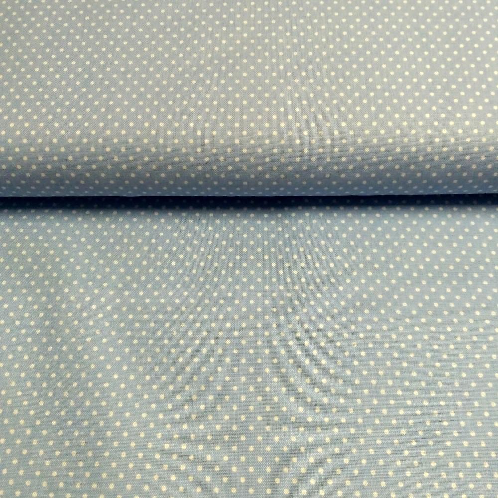 bavlna světle modrá bílý puntík