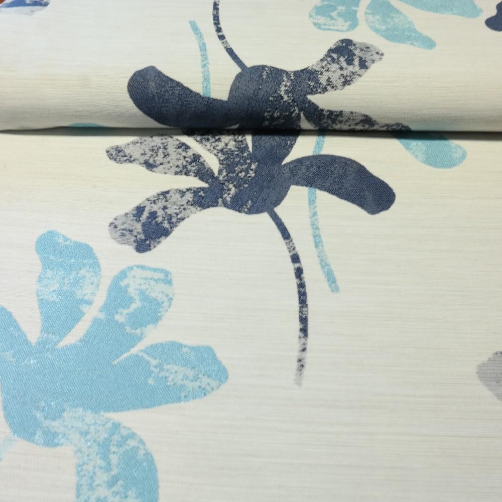 dekoračka šedá modrotyrkys květ š.140cm