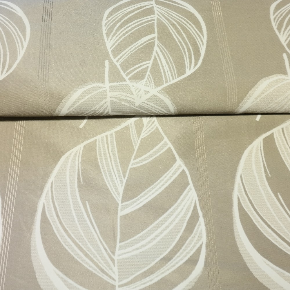 dekoračka béžová, lesklá, bílé listy š.150 PES