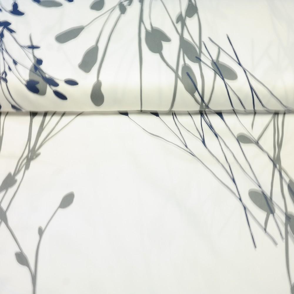 dekoračka bílá, šedo-černé větvičky š.150 PES