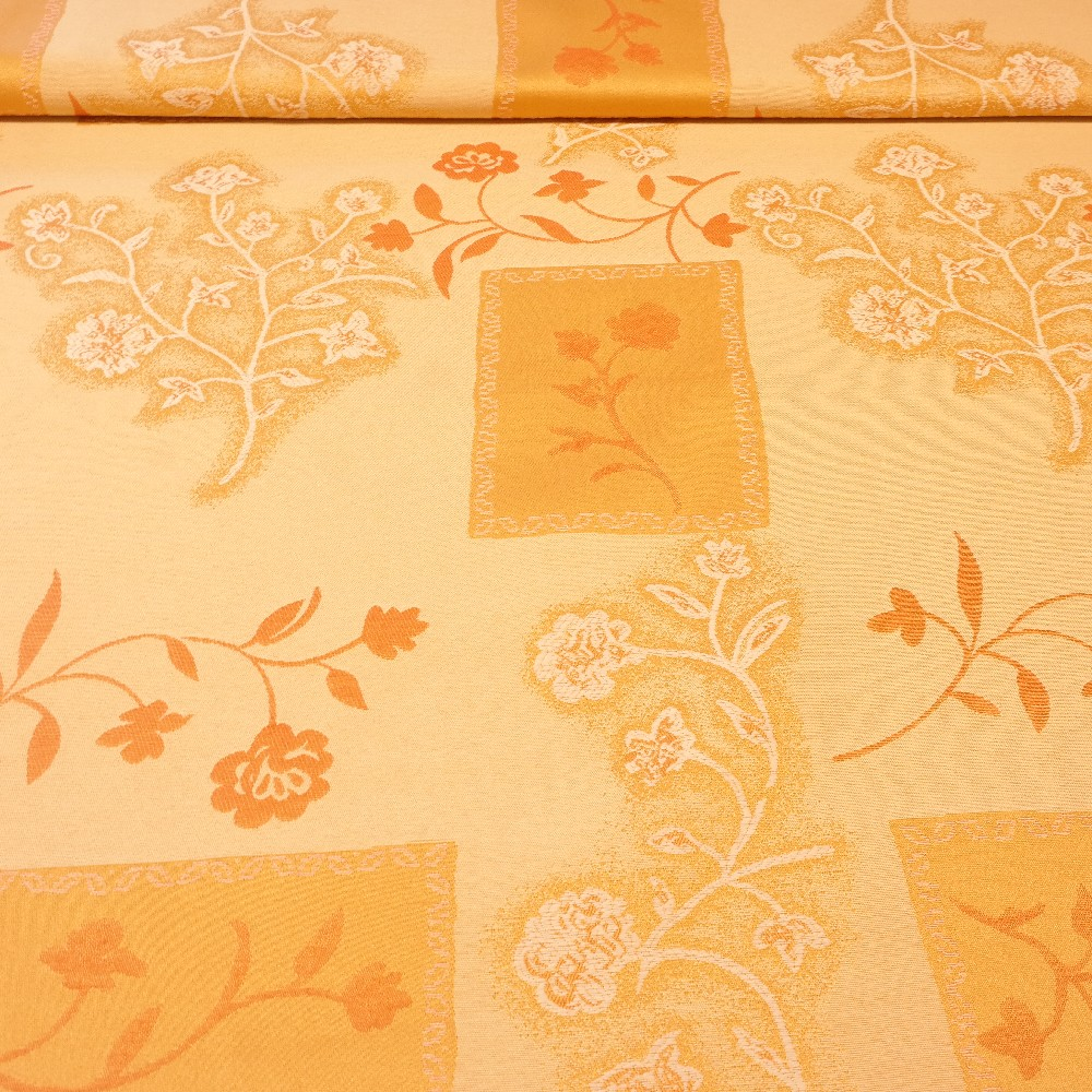 dekoračka oranžovo-béžové květy  1.jakost š.140