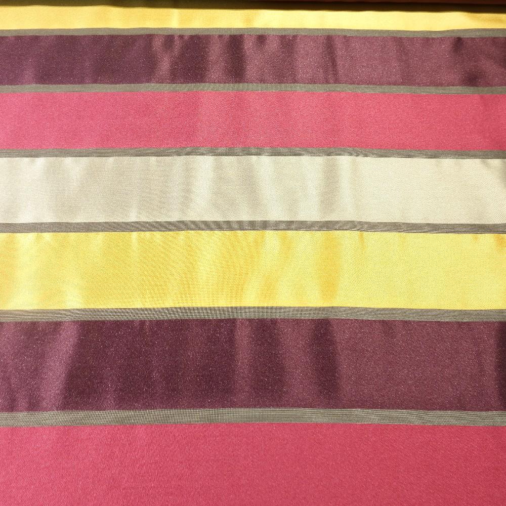 dekoračka lesklé bordo-zlato-růžovo-stříbrné pruhy š.140
