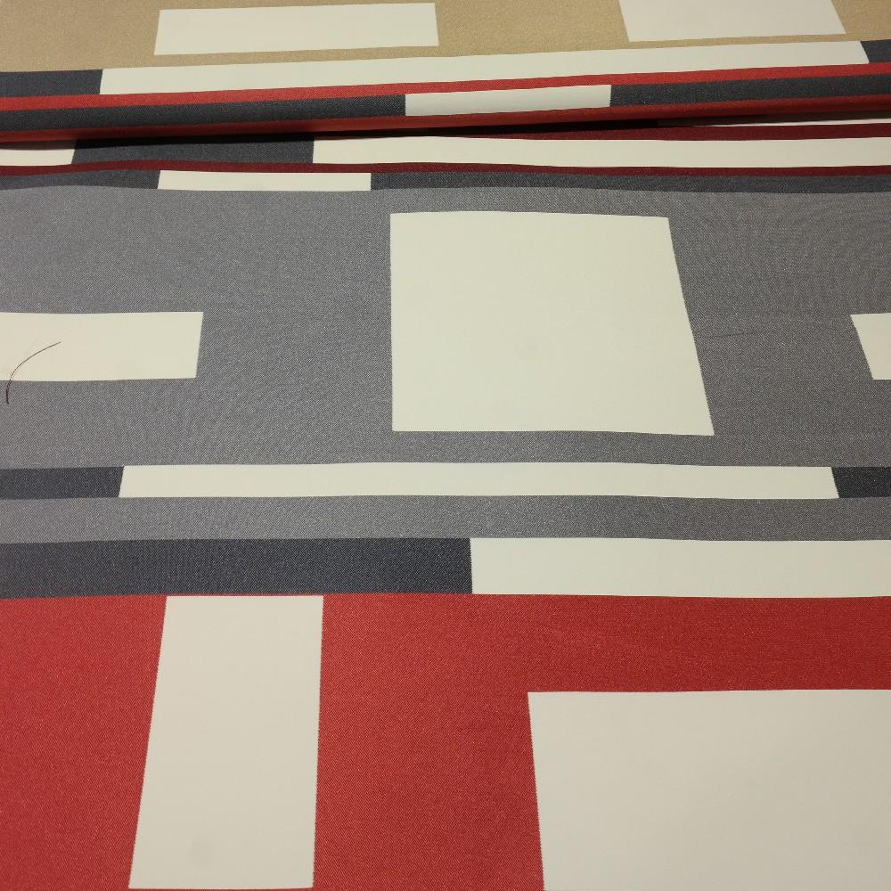 dekoračka červeno-šedo-bílo-béžové tvary š.150