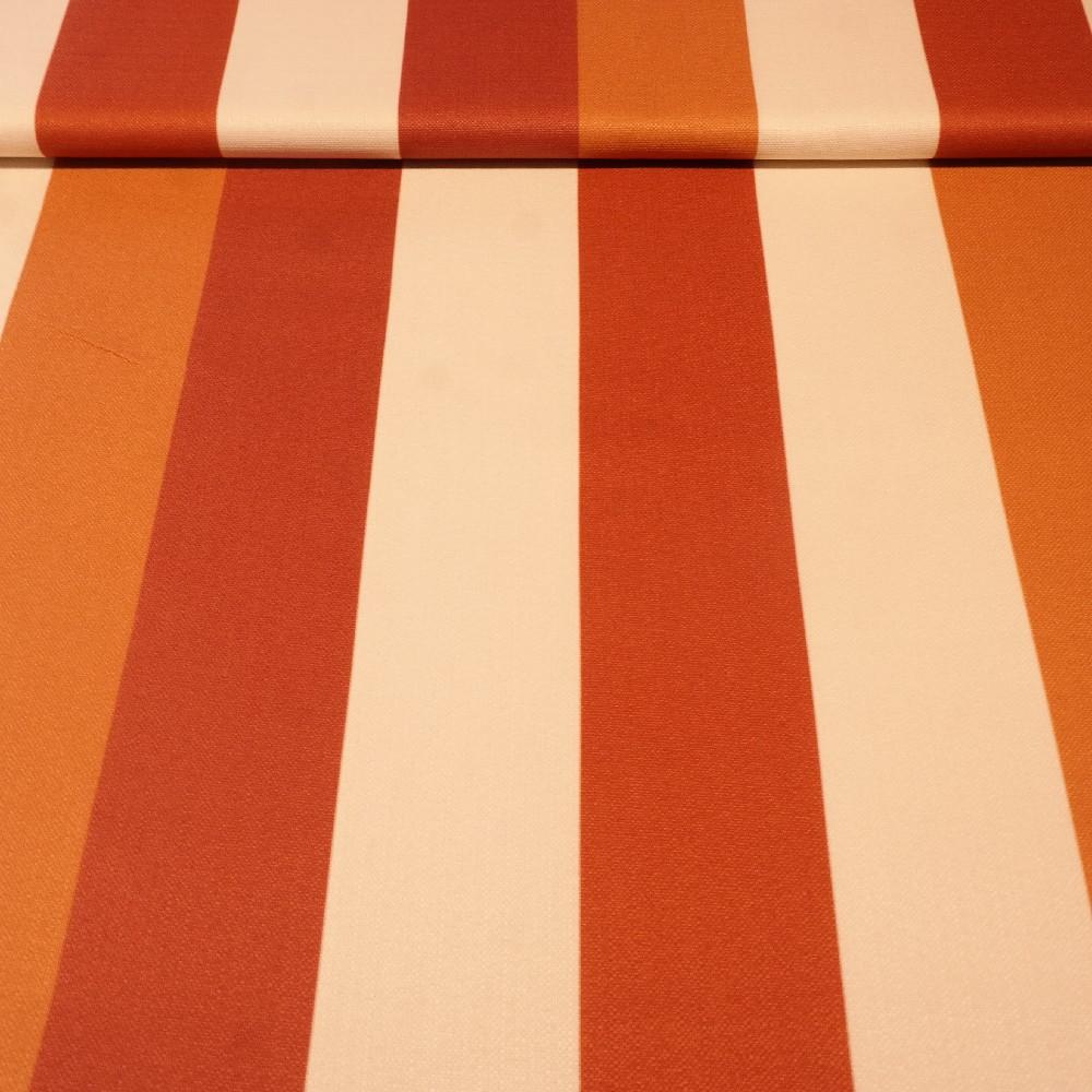 dekoračka béžovo-bordovo-oranžové pruhy š.150
