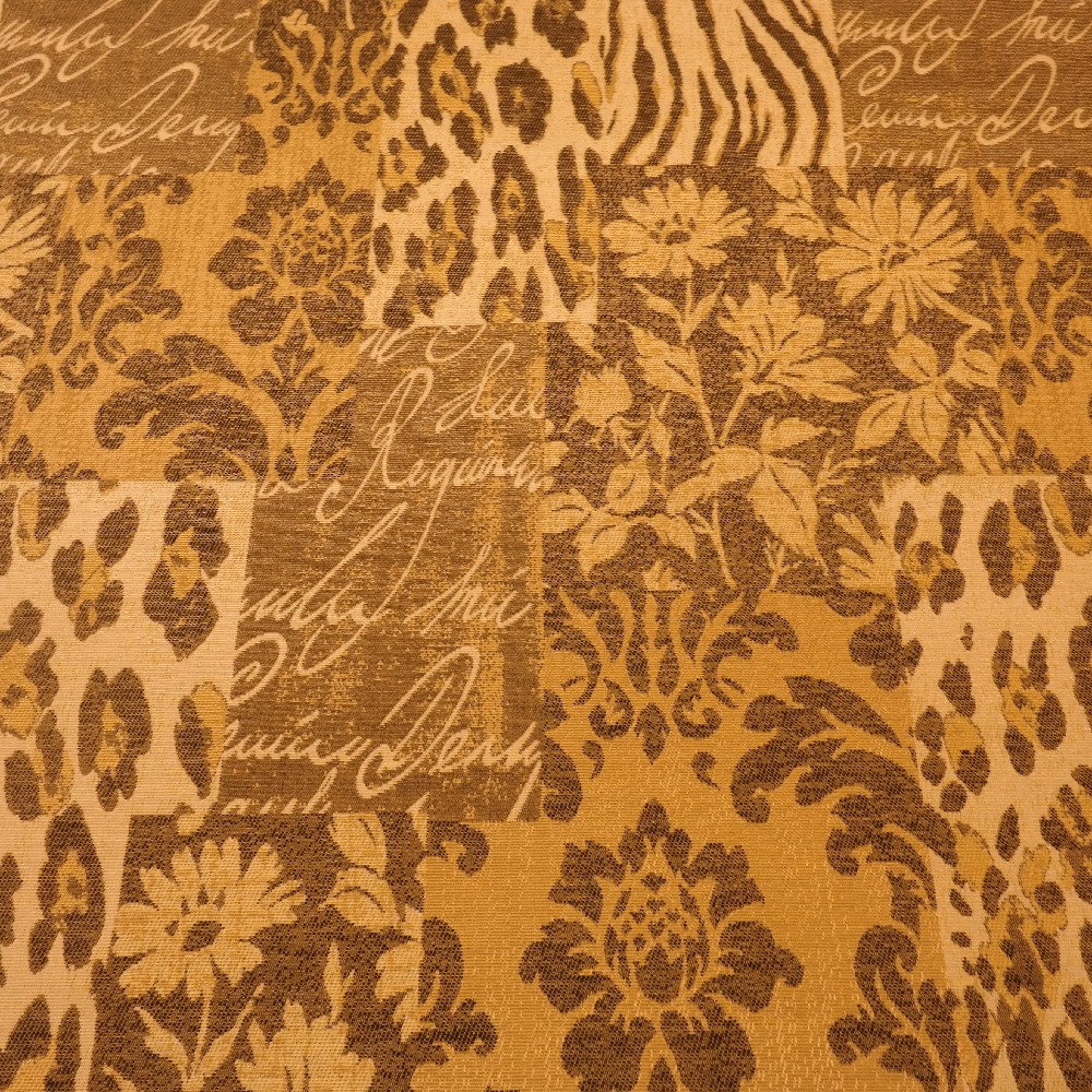 dekoračka hnědá, písmo, tygrový vzor š.140