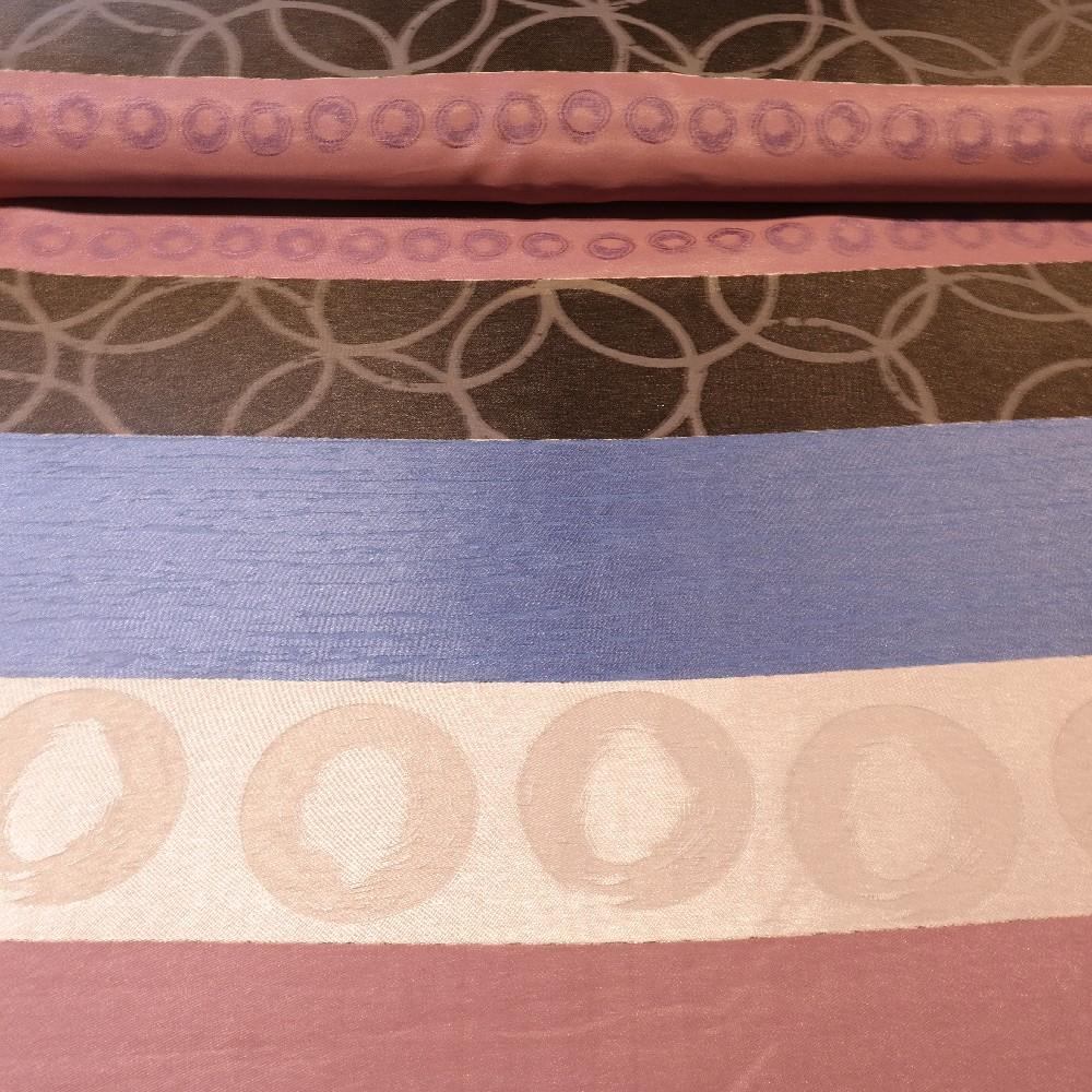 dekoračka modro-hnědo-bordo-stříbrná š.140