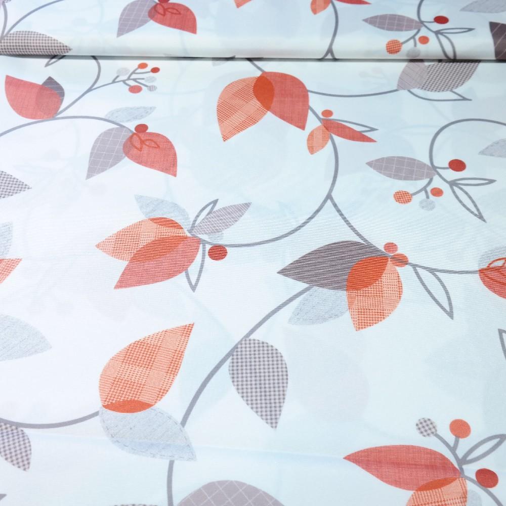 dekoračka bílá, oranžovo-hnědé lístky š.160
