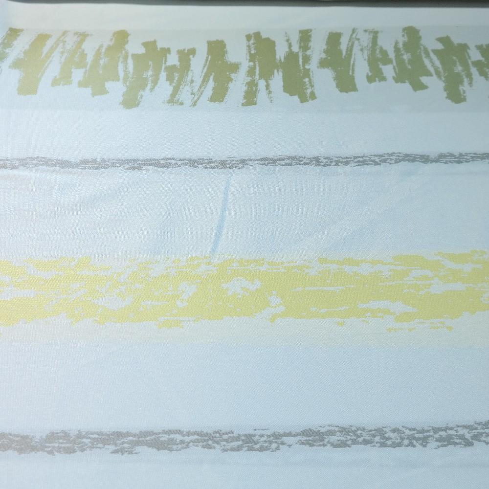 dekoračka bílá, zeleno-žluté pruhy š.150