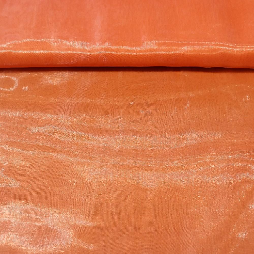záclona voál oranžový, lesklý š.140