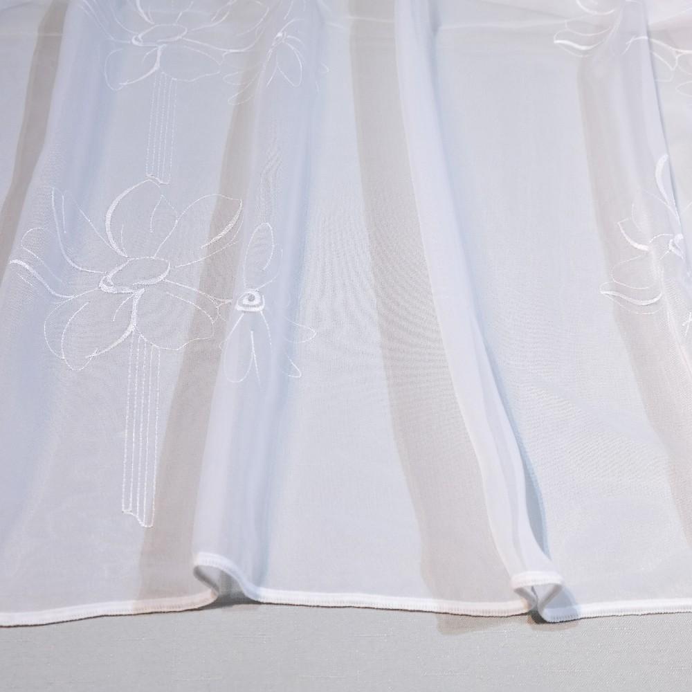 záclona, bílá, květy OR 20 137-01/175  1 j.