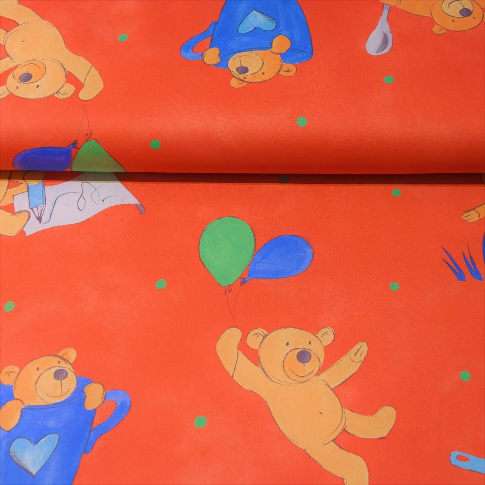 dekoračka black-out oranžový, medvíci š.150cm