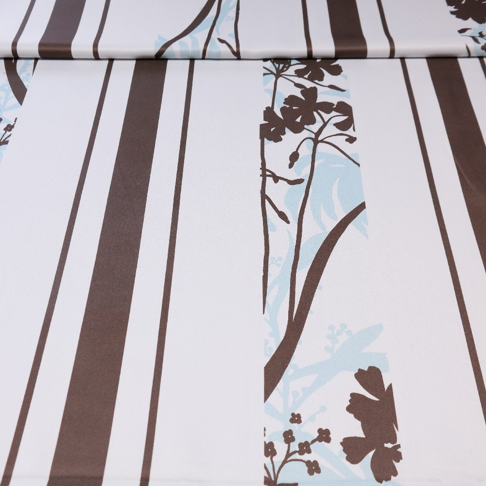 dekoračka black-out hnědo-tyrkysový pruh květ š.150