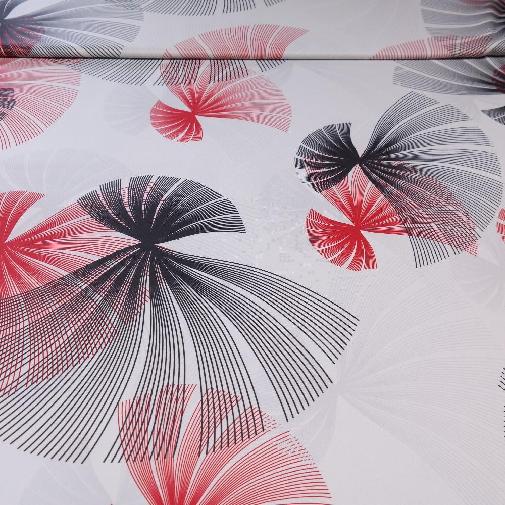 dekoračka black-out bílý, červeno-černé vějíře š.150