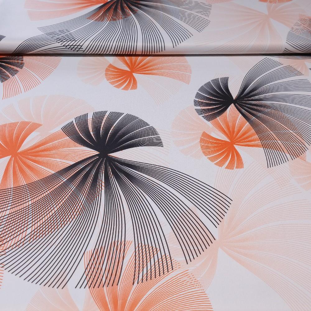 dekoračka black-out bílý, oranžovo-černé vějíře š.150
