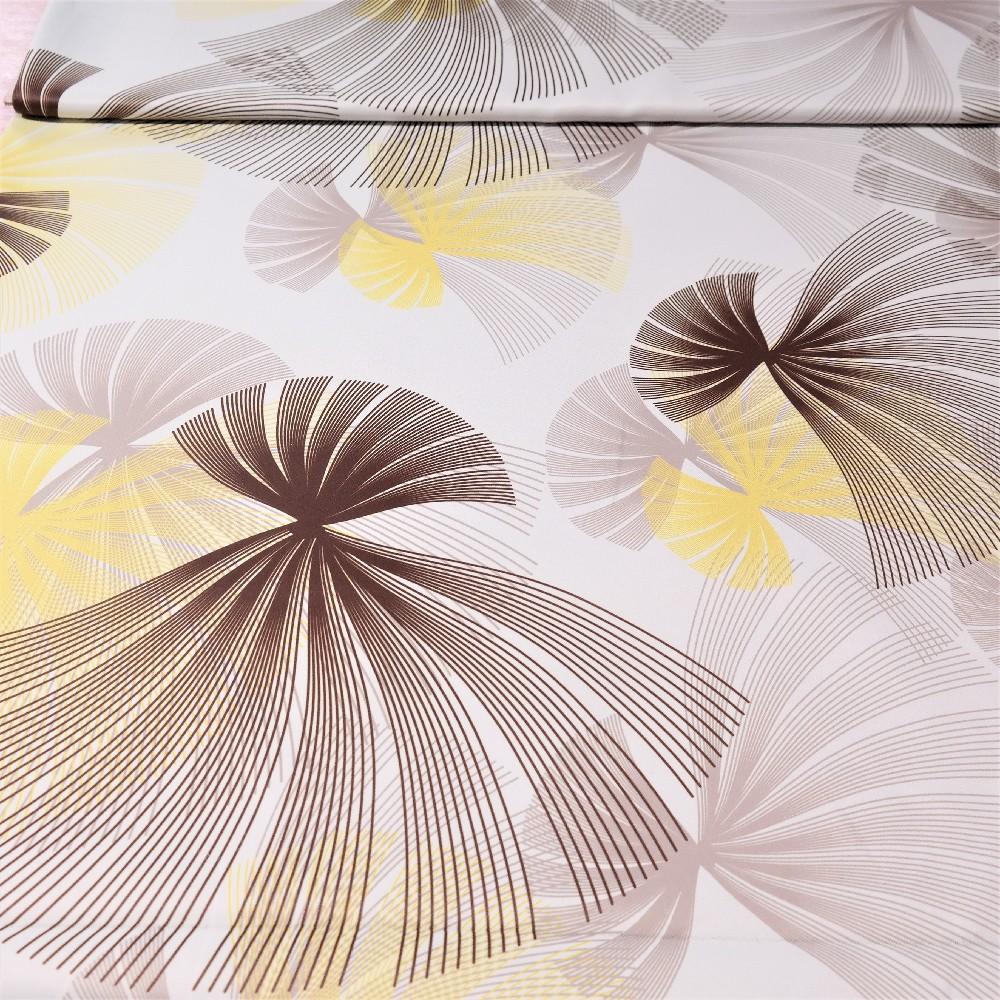 dekoračka black-out bílý, hnědo-žluté vějíře š.150