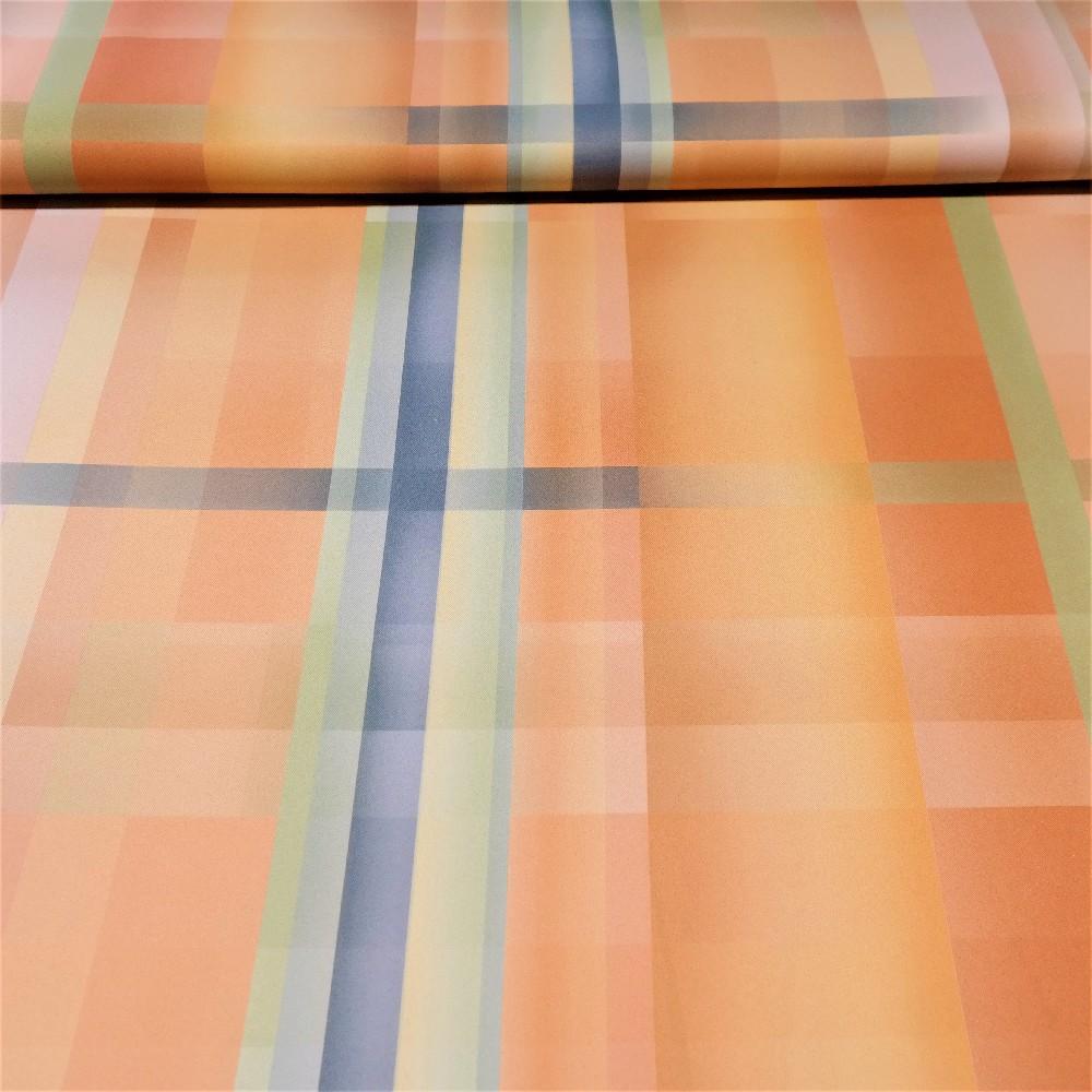 dekoračka oranžovo-zeleno-modré pruhy black-out š.150