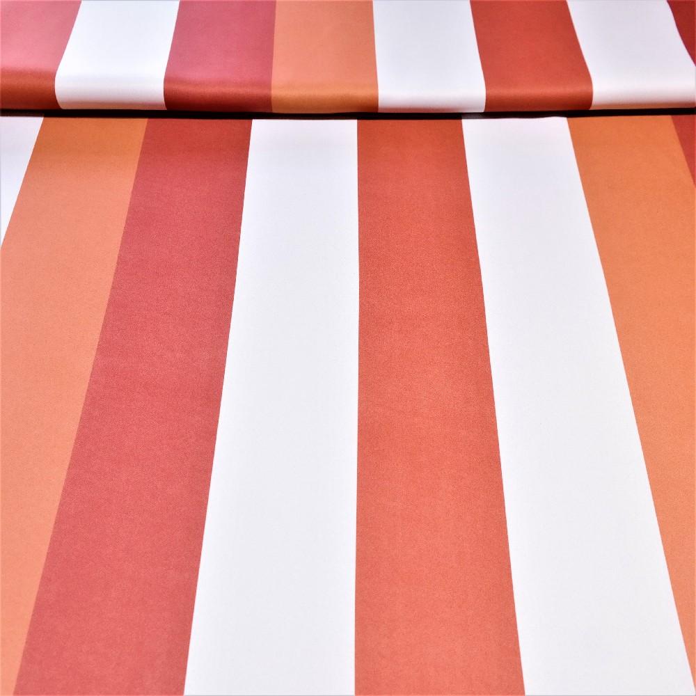 dekoračka black-out oranžovo-bílé pruhy š.140