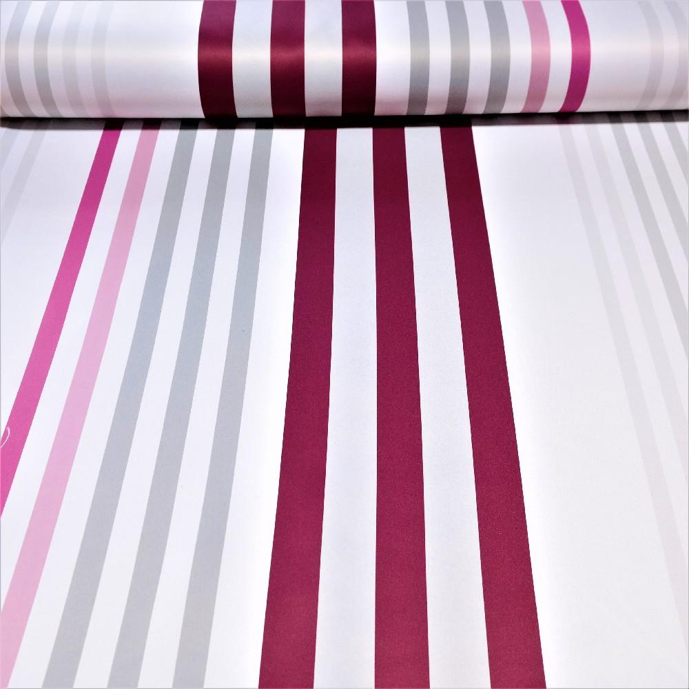 dekoračka black-out bordo-růžovo-šedo-bílé pruhy š.150