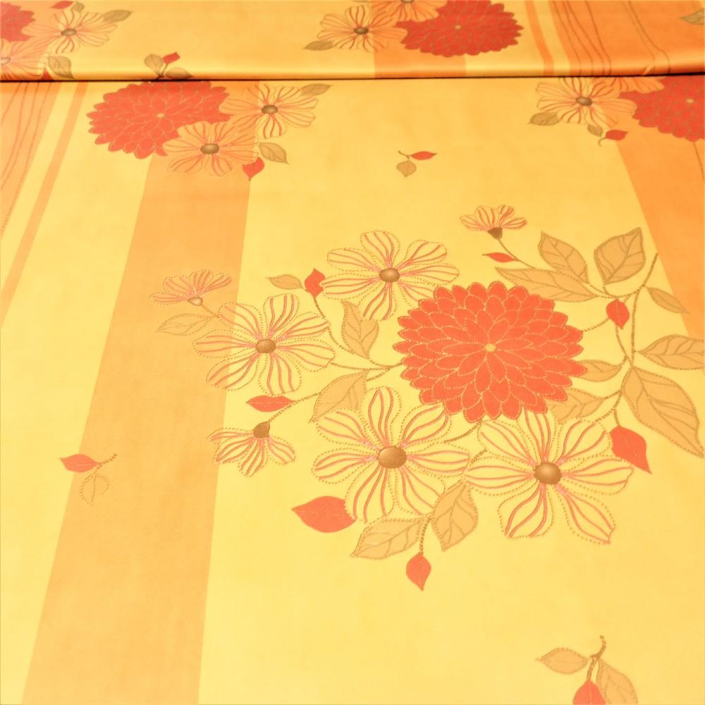dekoračka black-out žluto-oranžová+květy š.150