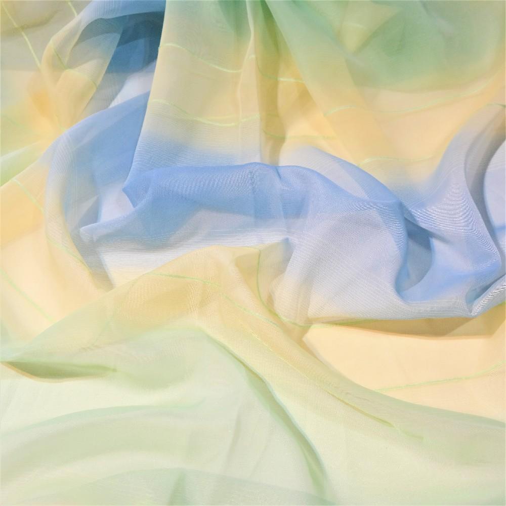 záclona voál zeleno-modro-oranžový š.300 HO