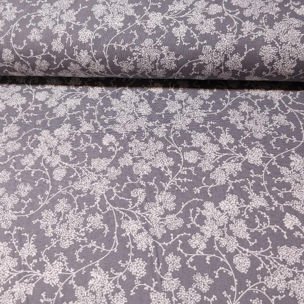 bavlna bílé květy na šedém podkladě 140 cm