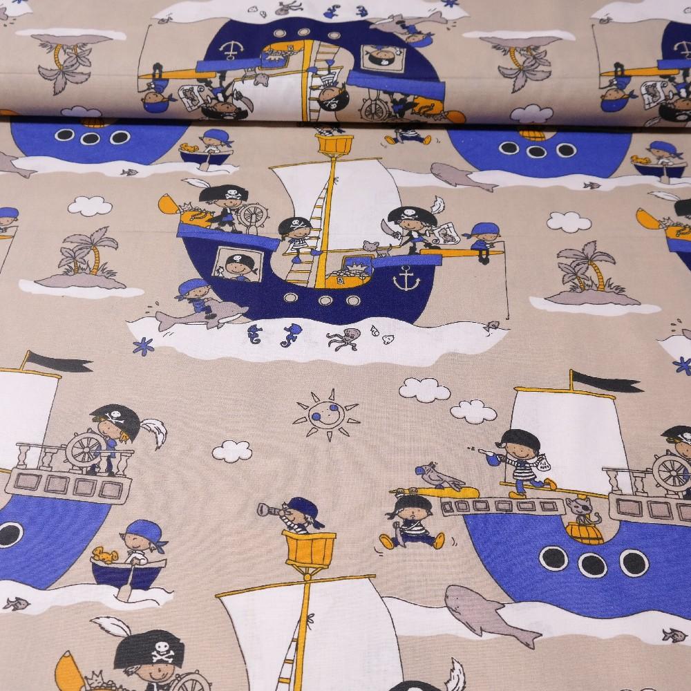 bavlna lodě.piráti modro šedo žlllutý motiv  160 cm