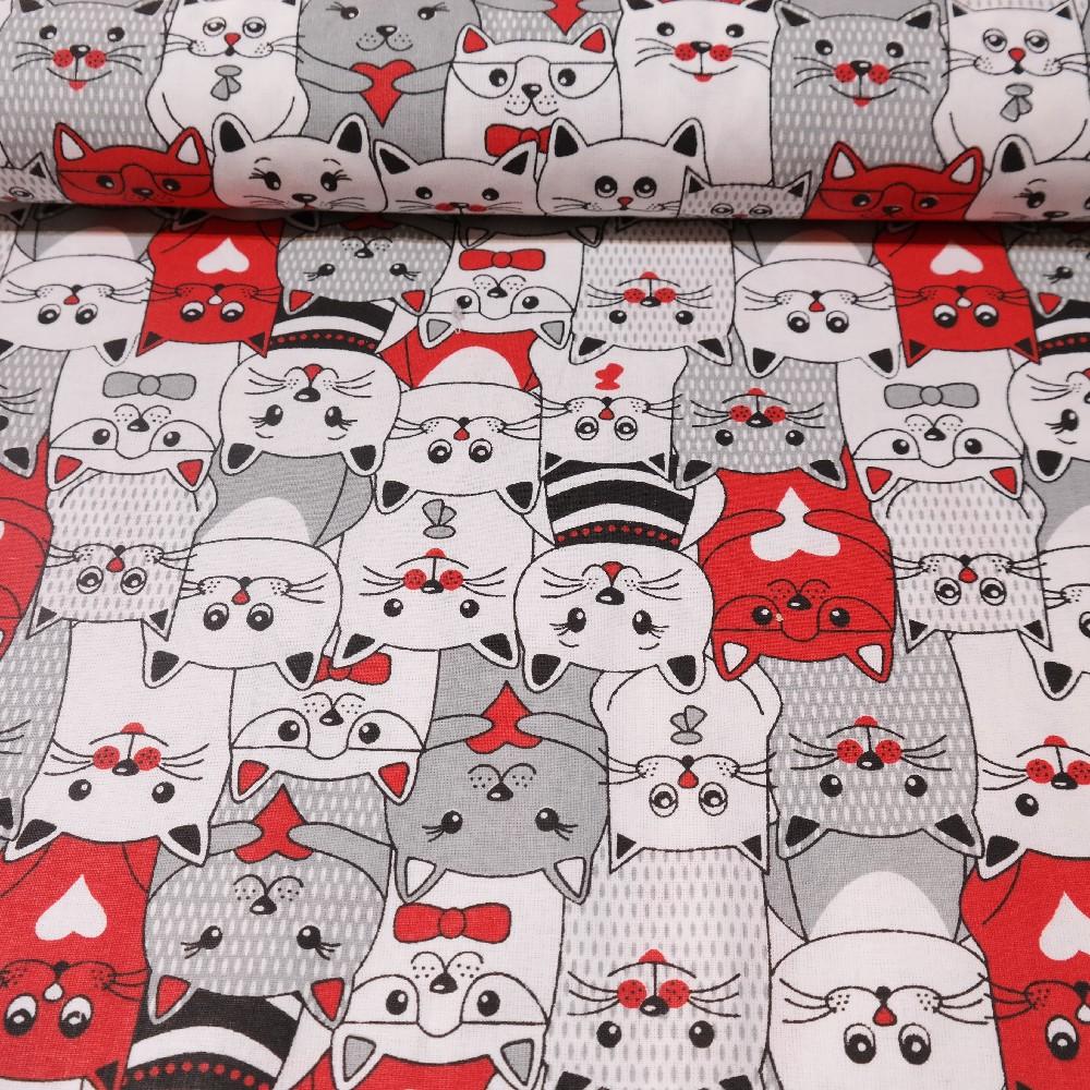 bavlna červeno černo bílé kočky 160 cm