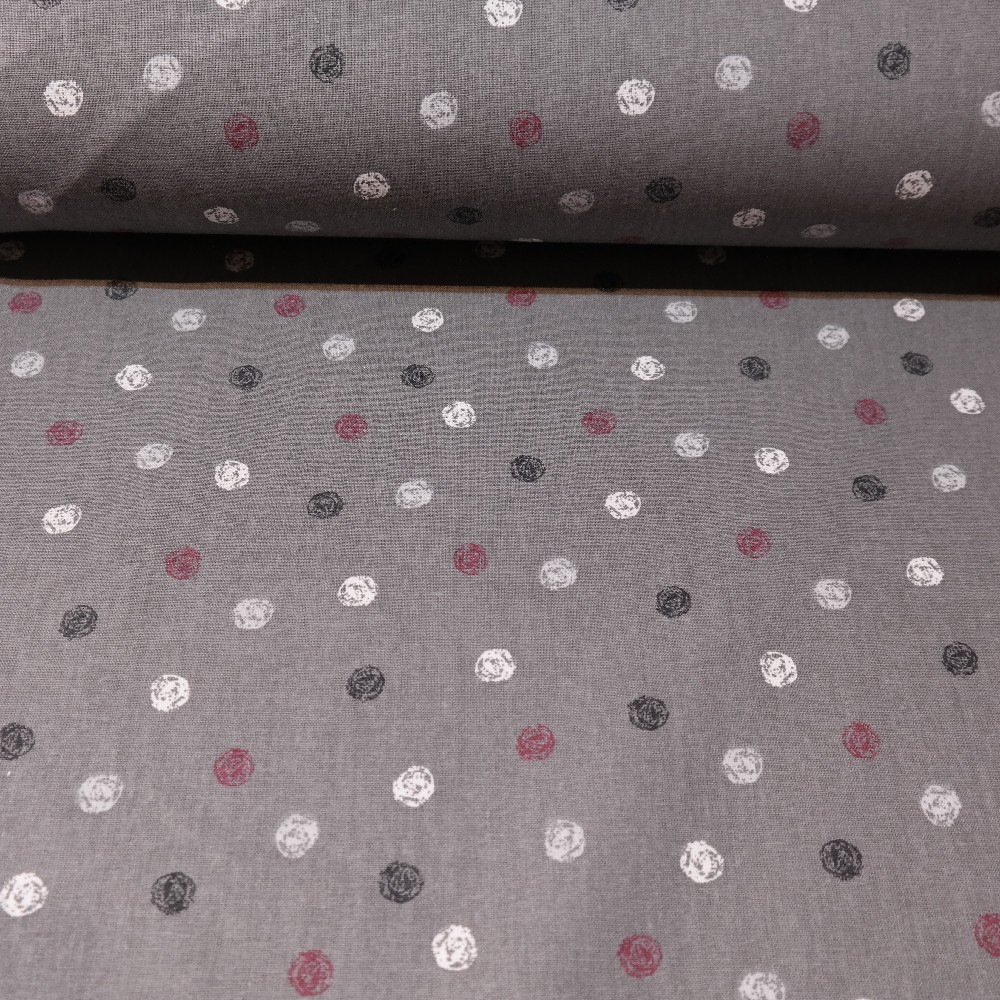 bavlna bílo ,černo,bord.puntíky na šedém podkladě 140 cm