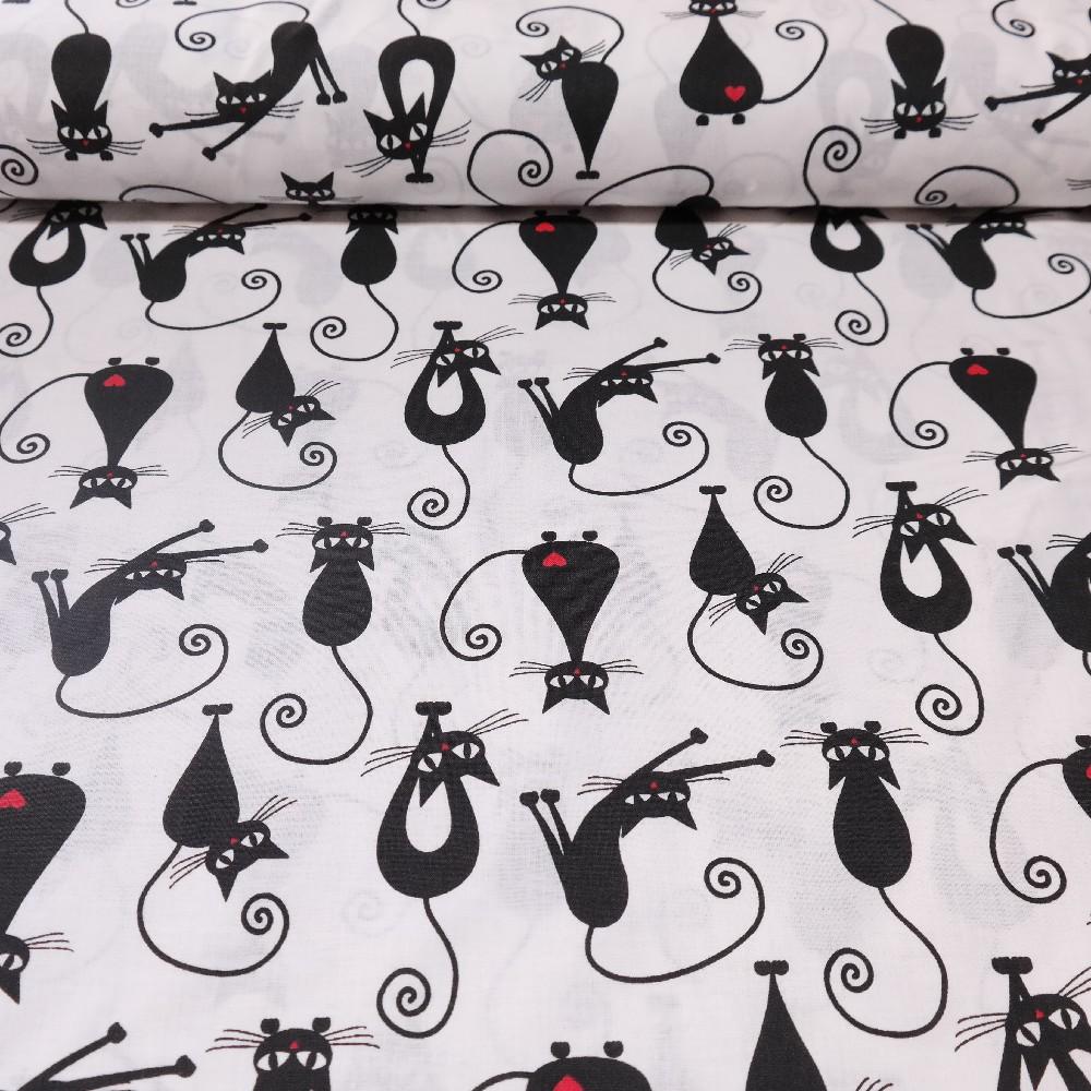 bavlna černé kočky na bílém podkladě 160 cm