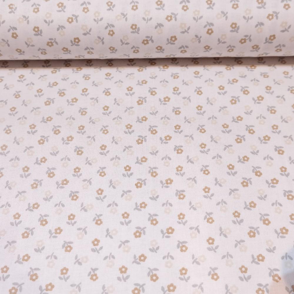 bavlna bílá hnědé kvítky145cm