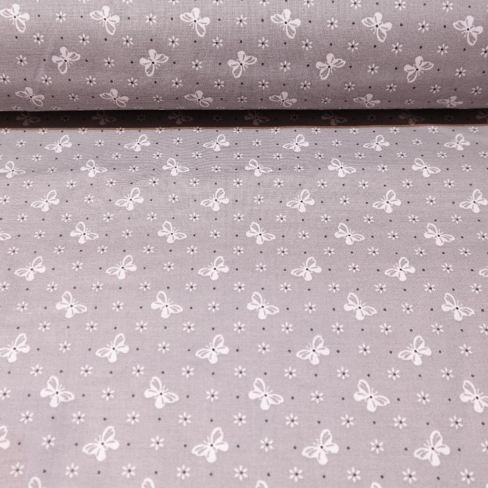bavlna šedá bílé mašličky 145cm