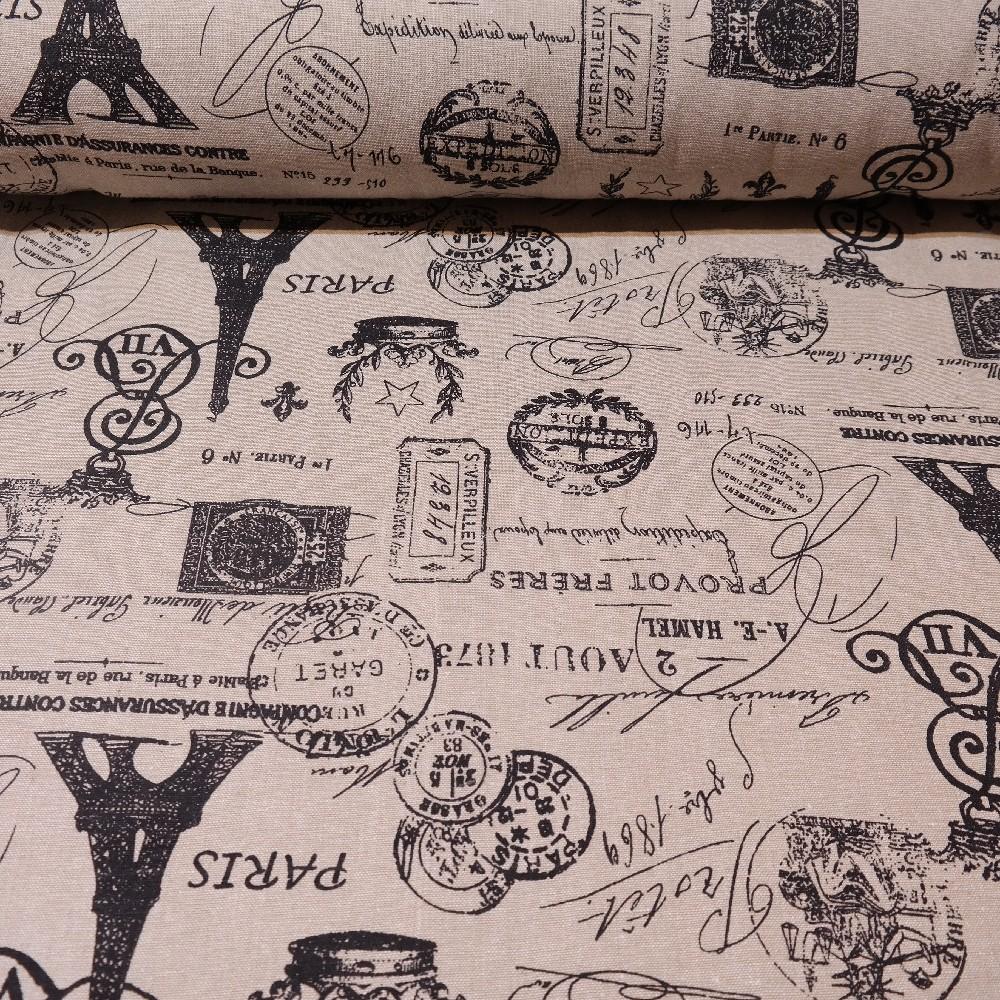 loneta Paříž šedo černá150cm