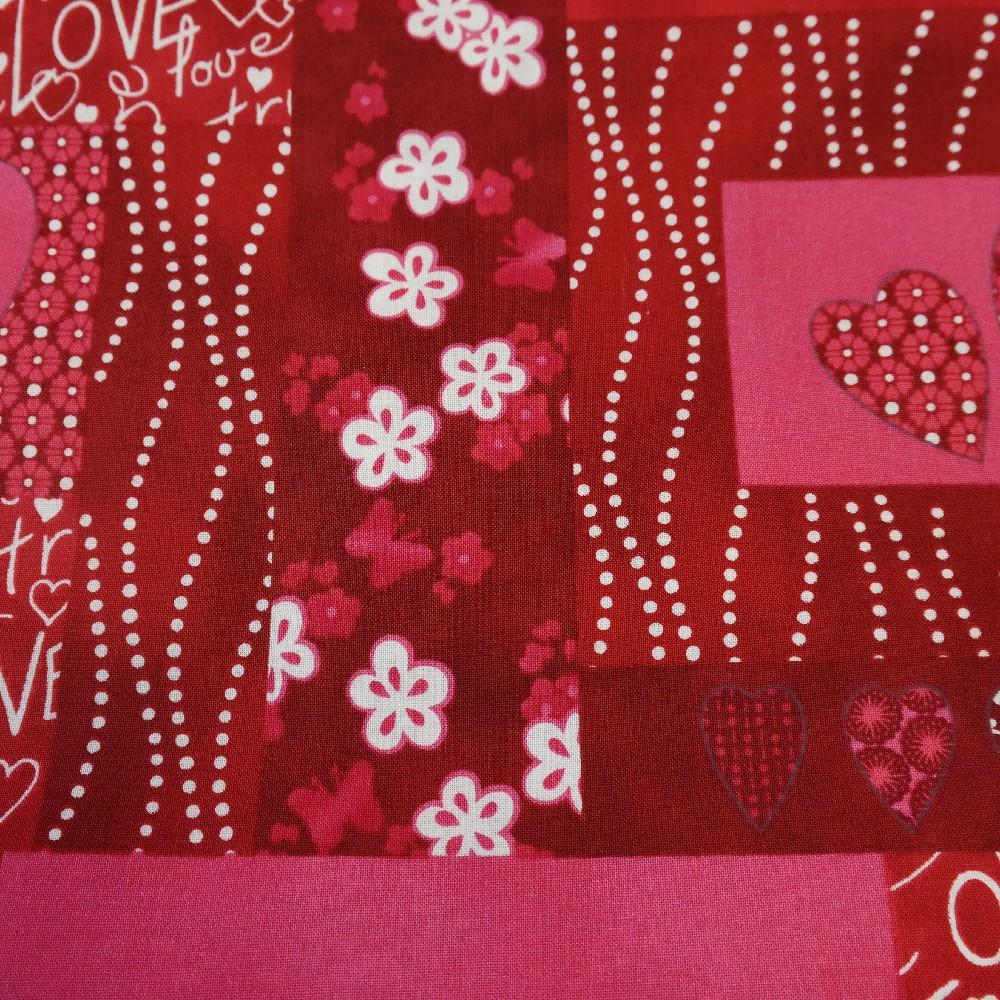 bavlna srdce červená