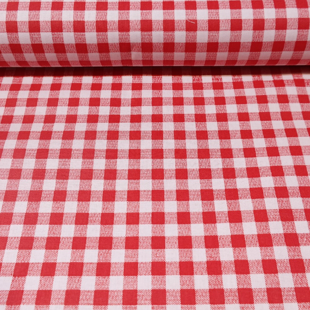 bavlna  kanafas červeno bílá  kostka 140 cm